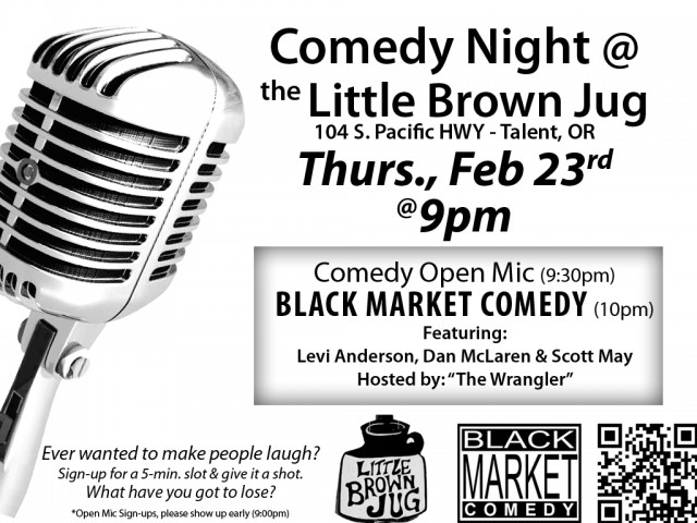 Comedy Night - THURS. Feb 23 in Talent, OR